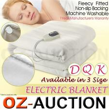 New Electric Heated Soft Fleece Blanket Double King Queen Bed Size All Sizes