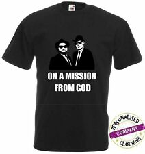 NEW MENS WOMENS BOYS GIRLS BLUES BROTHERS MISSION FROM GOD T SHIRT AGE 1 - 6XL