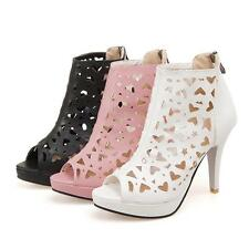 Womens Hollow Out Peep Toe High Heel Stilettos Ankle Boot Sandal Plus Size Shoes