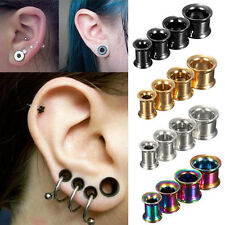 1 Pair Stainless Steel Horn Ear Tunnels Plugs Earlets Gauge Stretcher Expander