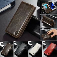 New Flip Magnetic Closing Faux Leather Wallet Case Cover For Samsung & iPhone