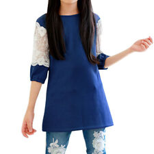 Girl Floral Embroidered Organza Panel Tunic Dress