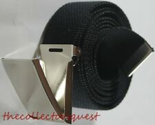 "NEW 1.5"" WIDE CHROME FLIP TOP BUCKLE ADJUSTABLE BLACK CANVAS MILITARY WEB BELT"