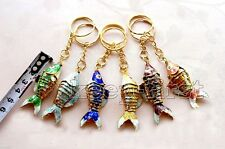 Wholesale Mix colour Chinese Handmade Cloisonne Fish Ring key Chain Xmas Gift