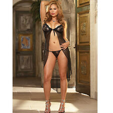 Plus Size Lingerie One Size 3X 4X Black Gown withThong DG5503X