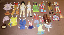 PAPER DOLLS VINTAGE 1940s BOY-GIRL OUTFITS COWBOY DRESSES COLOR LOT ADORABLE!