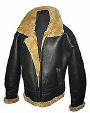 Men's Aviator RAF B3 Ginger Shearling Sheepskin Leather Bomber Flying Jacket