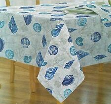 "Assorted Sizes ""Summer Shells"" Nautical Coastal Fabric Tablecloth FREE SHIPPING"