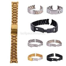 Classic Stainless Steel Solid Links Watch Band Strap Bracelet Straight End