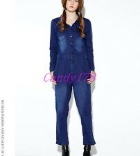 New Womens Frayed Long Sleeve Denim Jeans Pants Casual Overalls Jumpsuit Rompers