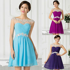 Chiffon Short Evening Party Cocktail Bridesmaid Wedding Ball Prom Gown Dress