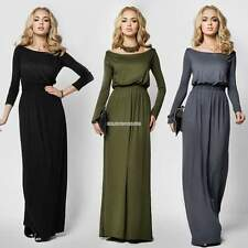 New Fashion Women Casual Solid Boat Neck Long Maxi Cocktail Evening Party Dress