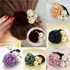 Charm Women Rose Flower Pearls Satin Ribbon  Hairband Ponytail Holder Hair Band