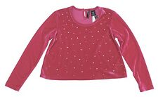 New! Miss Understood Pink Embellished Velvet Crop Top Kids Big Girls Youth M-XL
