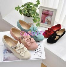 Womens Mary Jane Faux Suede Bowtie Lolita High Heels Dress Buckle Shoes All Size