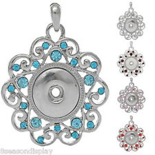 1PC Charm Pendant Fit Snap Buttons Hollow Flower Pentacle Rhinestone M2925