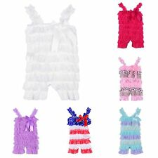 Infant Baby Girls Summer Ruffled Party Strap Romper Bowknot Trousers Overalls