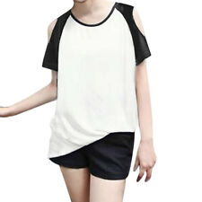 Women Raglan Sleeves Contrast Color Cut Out Shoulder Tunic Top