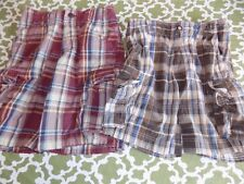 Abercrombie & Fitch Boys 10 Brown or 14 Brick Red Plaid Cargo Shorts