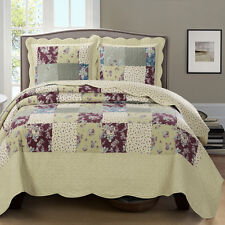 3PC Reversible OVER-SIZED Tania Coverlet Luxurious Floral Printed Woven Quilt