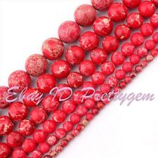 "4-14mm Round Shape Red Imperial Jasper Gemstone Spacer Beads Strand 15""Pick Size"