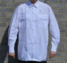New Double Two Mens White Shirt Long Sleeve Uniform Police Security Prison