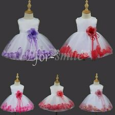 Flower Girls Princess Petal Dress Toddler Baby Wedding Party Pageant Tutu Dress
