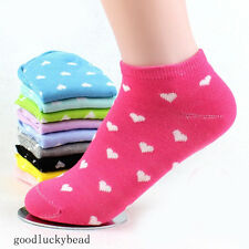 Lot 1/5/10Pair Womens Sports Casual Cute Heart Ankle High Low Cut Cotton Socks