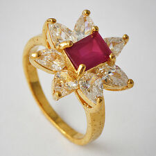 Beautiful Womens Yellow Gold Plated Red CZ Promise Fine Band Ring Size 7-9