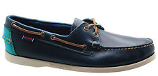Sebago Horween Dockside Mens Boat Shoes Navy Blue Leather Lace Up B720043 D52