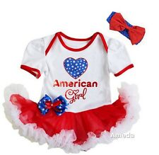 4th of July Baby American Girl White Red Bodysuit Tutu and Headband