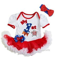 Baby 1st 4th of July Firecracker White Red Bodysuit Tutu and Headband