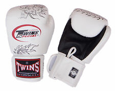 FBGV-6 Thai Boxing Gloves Muay Thai TWINS 'Dragon' white leather