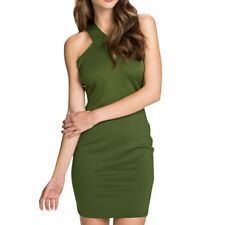 Women Sleeveless Crossover Cut Out Back Sheath Dress