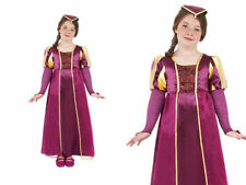 Girls Medieval Queen Costume Tudor Long Childrens Fancy Dress Outfit