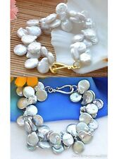 """X0366 2row 8"""" 16mm COIN FRESHWATER CULTURED pearl bracelet"""