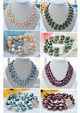 X0380 3row 14mm baroque pearl faceted crystal necklace Bracelet
