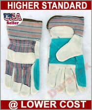 12 Pairs Split Leather Finger Reinforced  Palm Work Gloves  L or XL