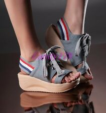 Chic Womens Lace Up denim Jeans Peep Toe Sandals Slingback Platform Wedge Shoes