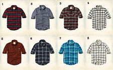 NWT Hollister-Abercrombie Classic Flannel or Brushed Cotton Plaid Shirt blue red