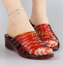 Womens Hot Sale Ventilate Crystal Shoes Jelly Hollow Flat Shoes Red Slipper Size
