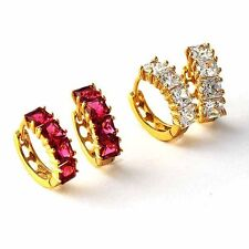 Fashion Womens Yellow Gold Plated Clear/Red CZ Girls small Hoop Earrings lucky