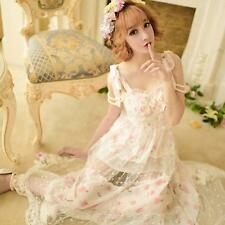 Women's Japanese Sweet Lolita Chiffon Lace Maxi Long Summer Cosplay Dress Skirt
