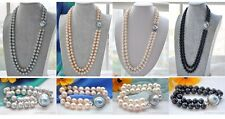 X0352 2strands 12mm round freshwater white PEARL necklace bracelet