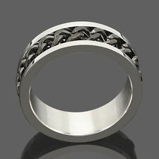 Sz7-12 Ring Black Rotatable Chain Stainless Steel Men's Wedding Band