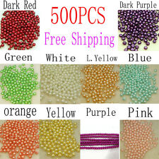 Colorful 4mm Wholesale 500PCS Round Imitate Pearl Loose Beads 10 Colors