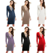 Vogue Women Lace Up Long Sleeve Bandage Club Bodycon Party Cocktail Pencil Dress