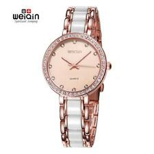 WEIQIN Luxury Women Round Dial Rhinestone Wristwatches Analog Quartz Watch I6A6
