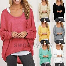 Batwing Dolman Sleeve Women's Loose Fit Crew Neck Knit Top Knitted T-shirt Tee