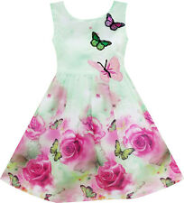 Sunny Fashion Girls Dress Rose Flower Print Butterfly Embroidery Green Size 4-12